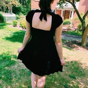 Free People Black Velvet Cap Sleeve Dress